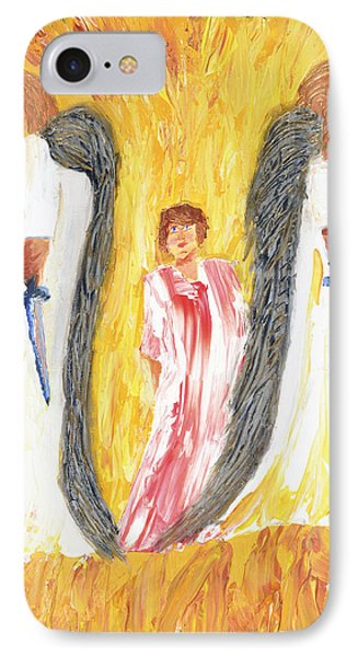 IPhone Case featuring the painting Child Being Escorted Into Heaven by Cassie Sears
