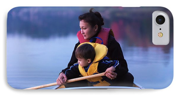 Child Learning To Paddle Canoe Phone Case by Oleksiy Maksymenko