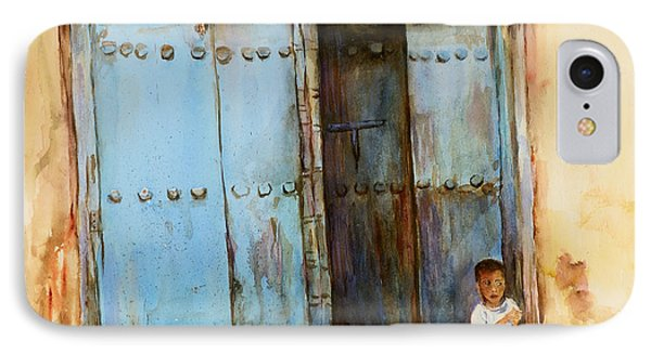IPhone Case featuring the painting Child Sitting In Old Zanzibar Doorway by Sher Nasser