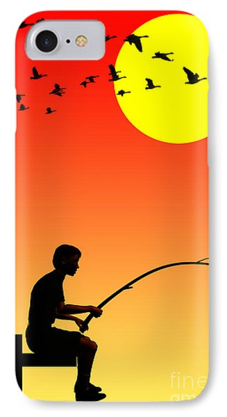 Childhood Dreams 3 Fishing IPhone Case by John Edwards