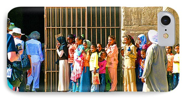 Children And Tourists At Entry To Temple Of Hathor In Dendera-egypt Copy IPhone Case by Ruth Hager