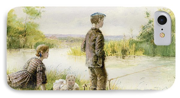 Children Fishing By A Stream Phone Case by George Goodwin Kilburne