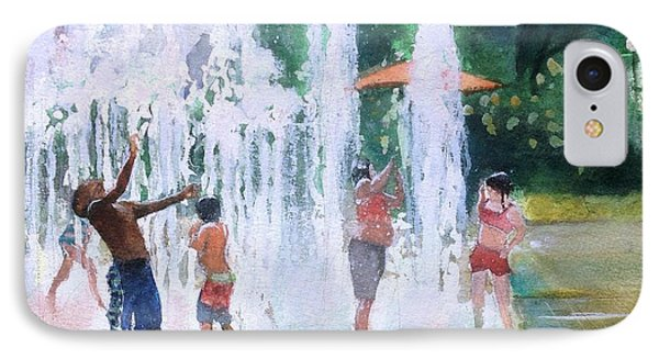 Children In Fountains II IPhone Case by Gregory DeGroat