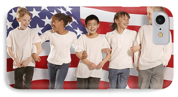 Children In Front Of American Flag Phone Case by Don Hammond