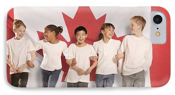 Children In Front Of Canadian Flag Phone Case by Don Hammond