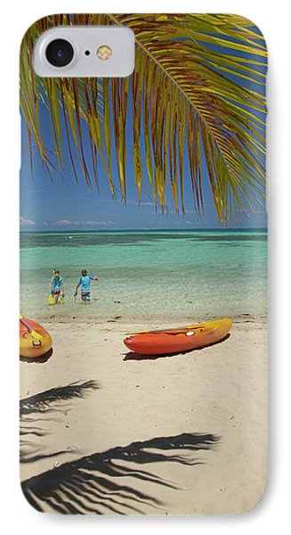 Children, Kayaks And Palm Frond IPhone Case by David Wall