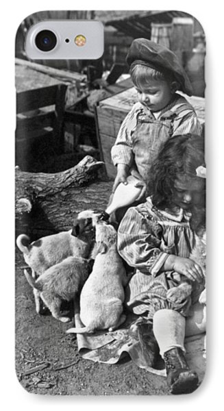 Children On Farm With Puppies Phone Case by Underwood Archives