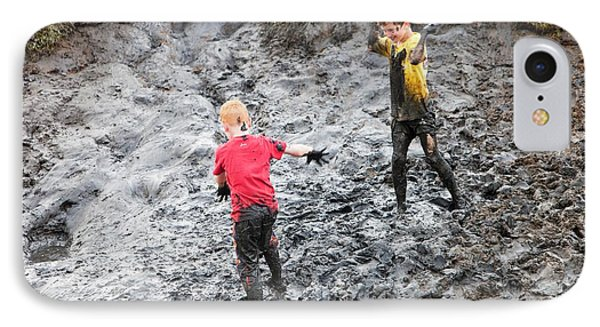 Children Playing In A Muddy Creek IPhone Case by Ashley Cooper