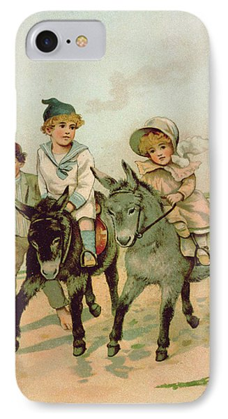 Children Riding Donkeys At The Seaside IPhone Case