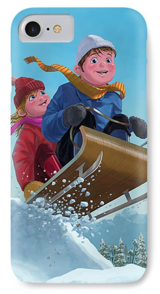 Children Snow Sleigh Ride Phone Case by Martin Davey
