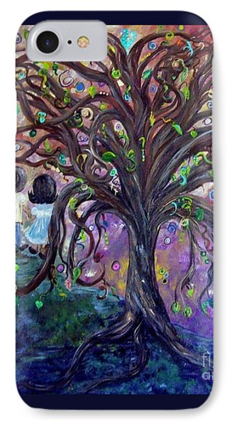 IPhone Case featuring the painting Children Under The Fantasy Tree With Jackie Joyner-kersee by Eloise Schneider