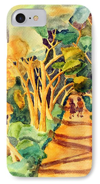 Children Walking On A Path In The Woods IPhone Case