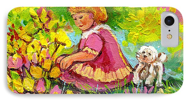 Children's Art - Little Girl With Puppy - Paintings For Children Phone Case by Carole Spandau