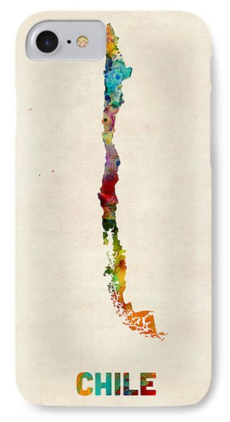 Chile Watercolor Map Phone Case by Michael Tompsett