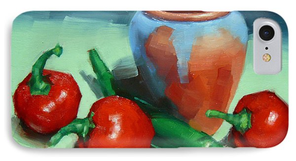 Chilli Peppers And Pot IPhone Case by Margaret Stockdale