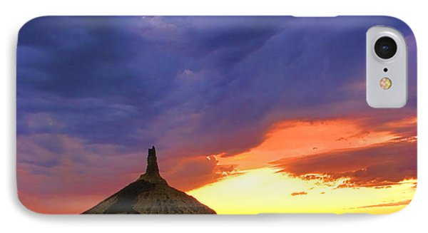 Chimney Rock Nebraska IPhone Case by Olivier Le Queinec