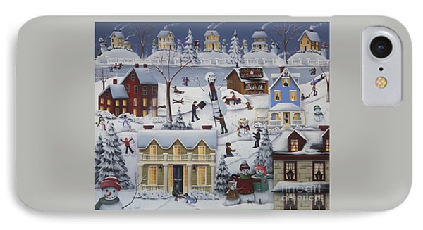 Chimney Smoke And Cheery Snow Folk IPhone Case by Catherine Holman