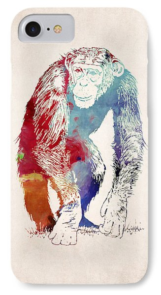 Chimpanzee Drawing - Design IPhone Case by World Art Prints And Designs