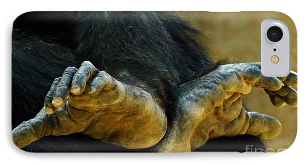 IPhone Case featuring the photograph Chimpanzee Feet by Clare Bevan
