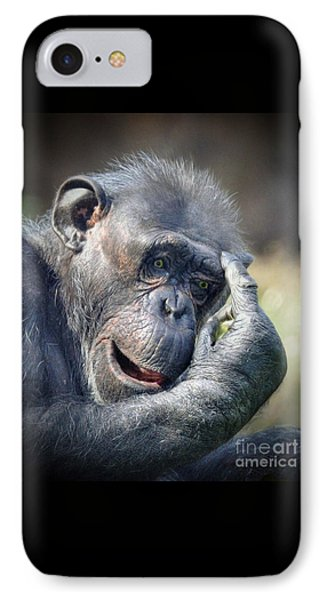 IPhone Case featuring the photograph Chimpanzee Thinking by Savannah Gibbs