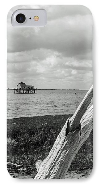 Chincoteague Oystershack Bw Vertical IPhone Case