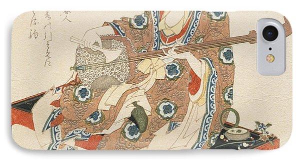 Chinese Beauty Playing The Shamisen IPhone Case by Katsushika II Taito