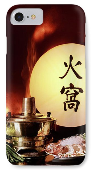 Chinese Food Against A Backgroup Of Flames IPhone Case by  Fotiades