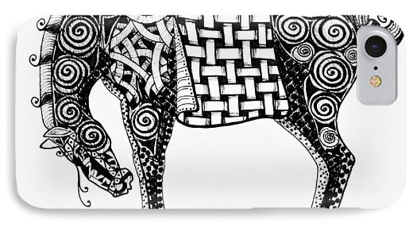 Chinese Horse - Zentangle IPhone Case by Jani Freimann