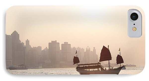 Chinese Junk Boat Sailing In Hong Kong Harbor IPhone Case by Matteo Colombo