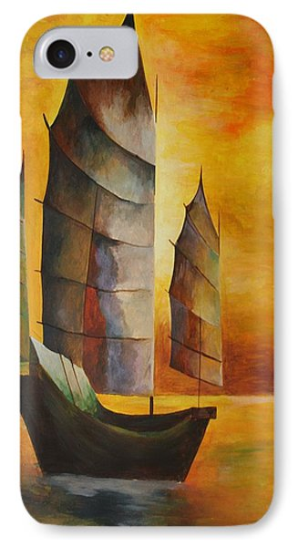 Chinese Junk In Ochre IPhone Case by Tracey Harrington-Simpson
