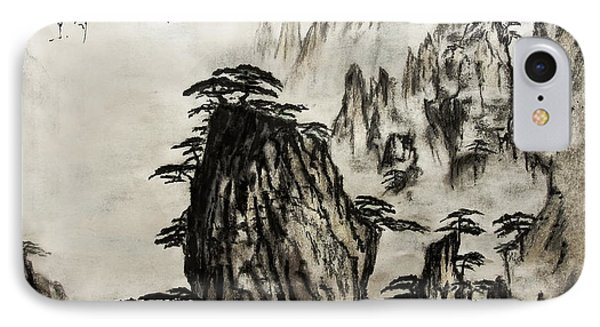IPhone Case featuring the painting Chinese Mountains With Poem In Ink Brush Calligraphy Of Love Poem by Peter v Quenter
