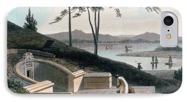 Chinese Tomb With Two Mourners IPhone Case by Thomas & William Daniell
