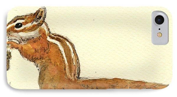 Squirrel iPhone 7 Case - Chipmunk by Juan  Bosco