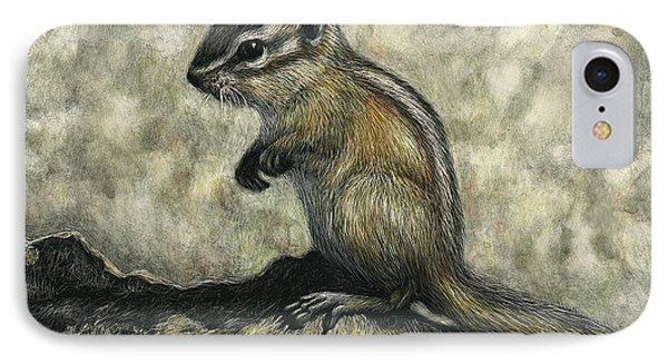 IPhone Case featuring the drawing Chipmunk  by Sandra LaFaut