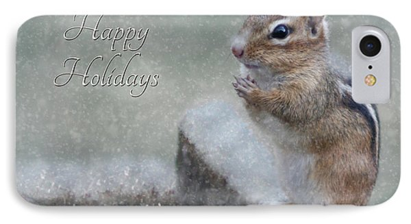 Chippy Christmas Card Phone Case by Lori Deiter