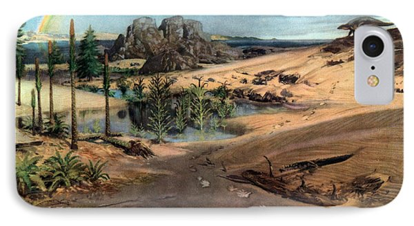 Chirotherium In Lower Triassic Landscape Phone Case by Science Source