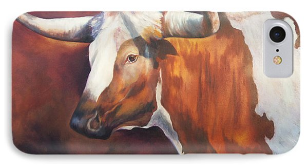 IPhone Case featuring the painting Chisholm Longhorn by Karen Kennedy Chatham
