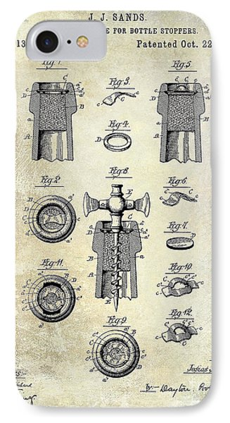 Champagne Retaining Device Patent Drawing 1889 IPhone Case