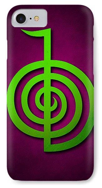 Cho Ku Rei - Lime Green On Purple Reiki Usui Symbol Phone Case by Cristina-Velina Ion