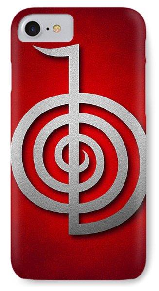 Cho Ku Rei - Silver On Red Reiki Usui Symbol Phone Case by Cristina-Velina Ion