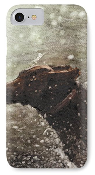 Chocolate Lab In Water Watercolor Portrait IPhone Case