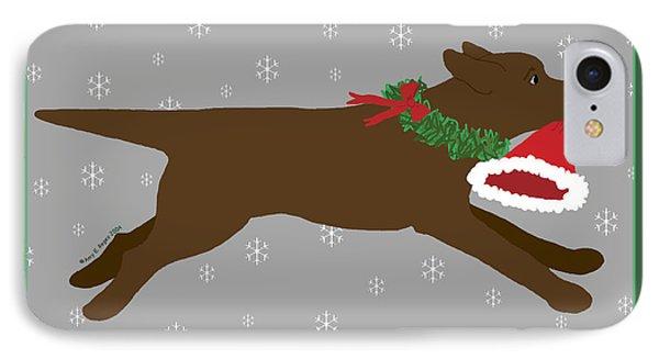 Chocolate Labrador Steals Santa's Hat IPhone Case