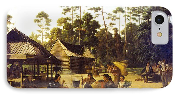 Choctaw Village IPhone Case by George Catlin