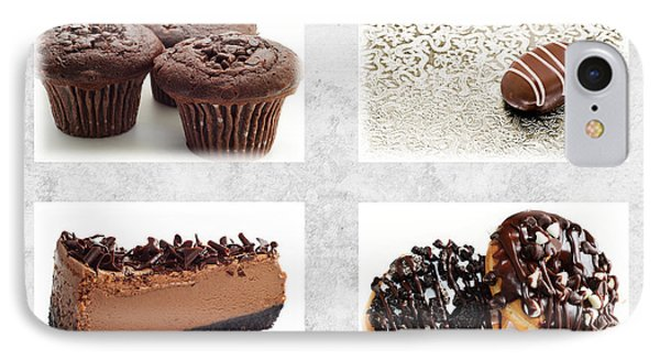 Choice Of Chocolate 4 X 4 Collage 1 - Bakery Sweets Shoppe IPhone Case