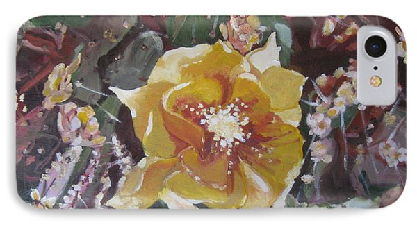 IPhone Case featuring the painting Cholla Flowers by Julie Todd-Cundiff