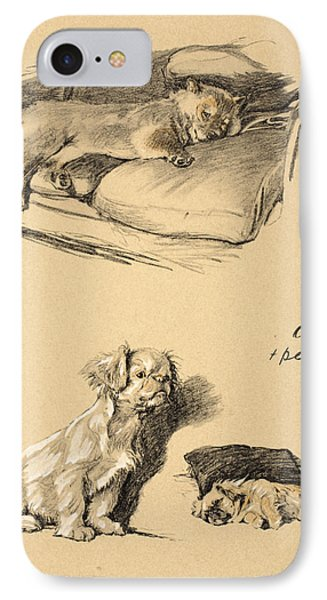 Chow And Pekinese, 1930, Illustrations IPhone Case by Cecil Charles Windsor Aldin