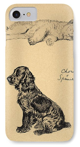Chow And Spaniel, 1930, Illustrations Phone Case by Cecil Charles Windsor Aldin