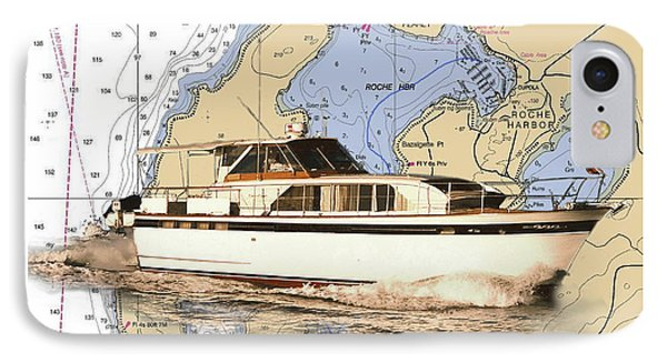 Yacht On A Chart Chris Craft San Juan Islands Chart IPhone Case by Jack Pumphrey