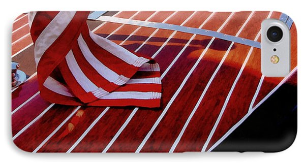 Chris Craft With American Flag Phone Case by Michelle Calkins