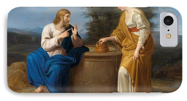 Christ And The Good Samaritan At The Well IPhone Case by Ferdinand Georg Waldmueller